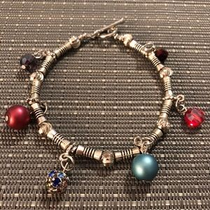 Jewelry - Silver Multi-colored Dangly Charm Bracelet
